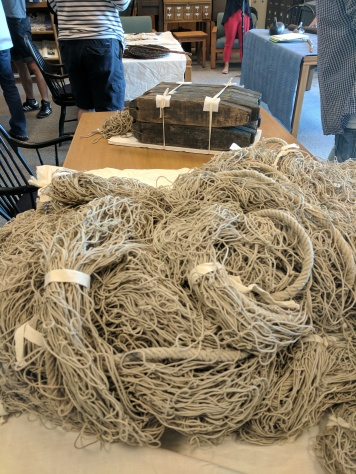 My objects, a sturgeon gill net and a set of gill net floats (From ISM collection 1987.074)